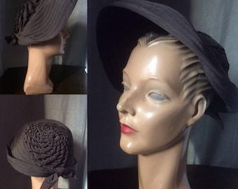 1940s Brown Grosgrain Portrait Hat