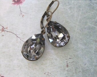 Bella - Estate Styled Charcoal Crystal Earrings - Black Diamond Crystal Pear Earrings - Crystal Bridesmaids Earrings