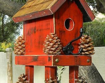 Bird House  Red Bird House and Feeder 363