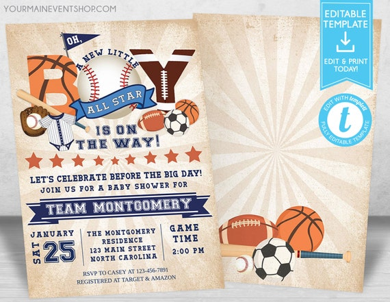 Sports Baby Shower Invitation, All Star Baseball Football Basketball Soccer Baby Shower Invitation, Editable Sports All Star Baby Shower