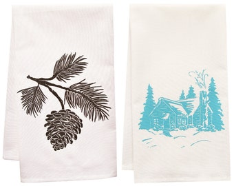 cabin time organic tea towel set