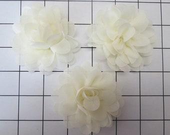 "Set of 3 2.75"" Ivory Chiffon Flowers Embellishments Dance Costumes!"