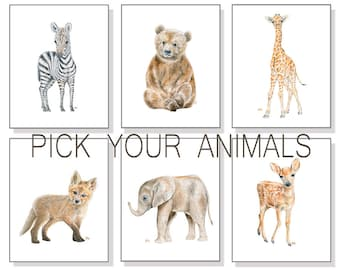 Baby Animal Prints Baby Animal Nursery Prints Set, Safari Nursery Art Print Woodland Nursery Wall Art, Boy Nursery Decor Girl, Watercolors 6