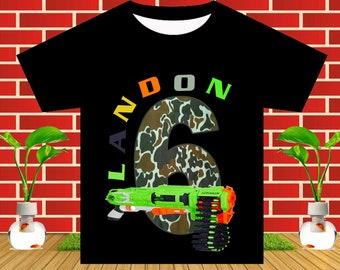 Dart Gun Wars Iron On Transfer, Dart Gun Birthday Shirt DIY, Dart Gun Party, Dart Gun, Boy Birthday Shirt, Personalize Name, Digital File