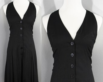 1990s Black Halter Romper by Styleworks, Small to Medium   90s Vintage Rayon Romper (S,M, 36-31-46)