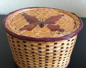 Small Oval Butterfly Wicker Trinket Box, Butterfly Box, Woven Trinket Box, Woven Basket with Lid, Sewing Box