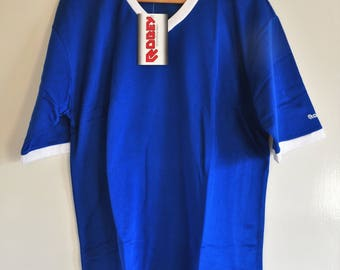 Vintage Dead Stock Robey Sportswear Mens Soccer Shirt - Blue White - White Hart Lane - Size 8 - Gift for Man