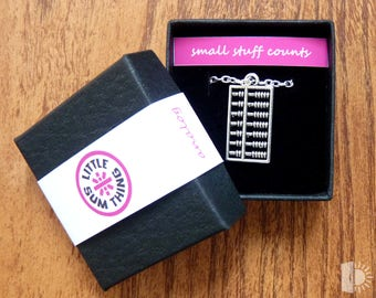 LITTLE SUM THING Tiny abacus pendant in presentation gift box. Little Something, Valentine, Valentines Day.
