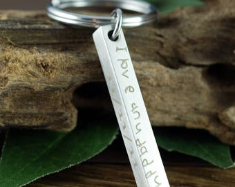 Actual Handwriting Keychain, 4 Sided Bar Keychain for Men, Engraved Fathers Day Gift, Mens Engraved Keychain, Gift for Dad, Gift For Husband