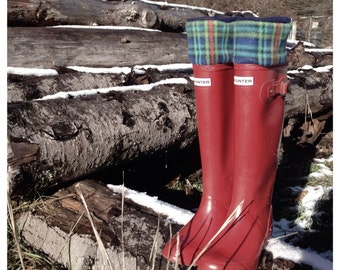 SLUGS Fleece Rain Boot Liners Navy with a Royal Blue Christmas Plaid Cuff, Winter Snow Fashion, Boot Cuffs, Hunter Socks (Sm/Med 6-8)