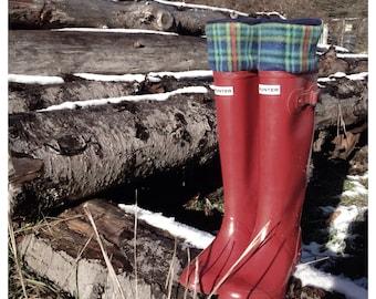 SLUGS Fleece Boot Liners Navy Plaid, Tall Boot Socks, Fleece Socks, Boot Topper, Camping Cabin Fashion (Med/LG 9-11)