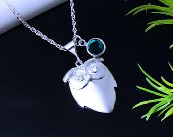 Owl Necklace with Swarovski Eyes on Sterling Silver Chain and Birthstone- Lawyer Gift, Teacher Gift, Doctor gift