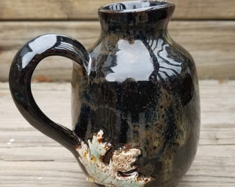 Handmade Pottery Maple Syrup Pitcher - Rich Brown Glaze - Green Maple Leaf - Wheel-thrown