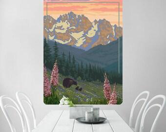 Yellowstone Park Hillside Bears Wall Decal - #60663