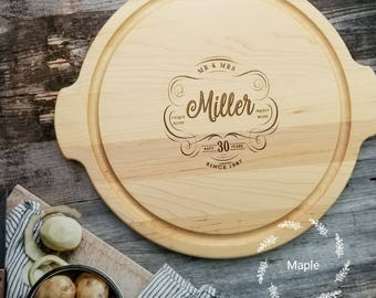 30th Anniversary Gift, Round Custom Cutting Board, 30th wedding anniversary gift for Parents, Customize for ANY Anniversary