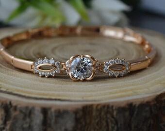 Bracelet,Gold bracelet,Cubic zirconia bracelet, bridal bracelet, wedding bracelet, wedding jewelry.