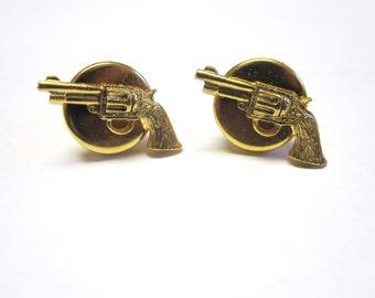 Gun Cuff Links Pistol Revolver Western Cufflinks Gold