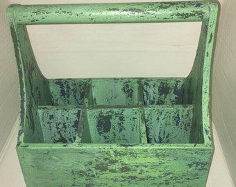 Upcycled faux patina wooden toolbox caddy silverware caddy bohemian decor