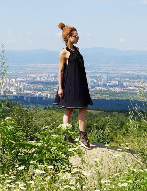 Black Party Flare Dress, Short Abaya Dress, Knee Cape Dress, Lagenlook Robe Stripe Dress, Smocked Ample Dress, Clubwear