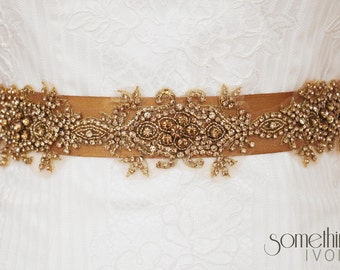 PENNY - Beaded Bridal Wedding Sash in Vintage Dark Gold