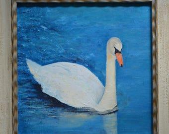 framed oil painting of swan