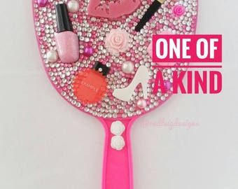 Custom Blinged out MAKEUP THEME Hand Held Mirror Sparkly