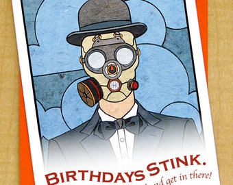 Man in Gas Mask- Greeting Card- Small- Birthdays Stink- Man in Bowler Hat- Fine Art card- Steampunk card- Industrial card- Magritte art card