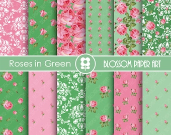 Floral Digital Paper Green Pink Scrapbooking, Digital Papers, Green Papers - Vintage Designs - 1776