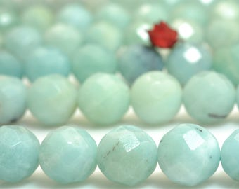64 Faces-''47 pcs of  Natural Amazonite faceted round beads in 8mm (06784#)