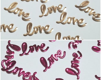 Love Confetti-Foil-Pink-Rose Gold-Embossed-Double sided-Engagement-Bachlorette Party-Love-Party Decor-Table Scatter-Free Shipping