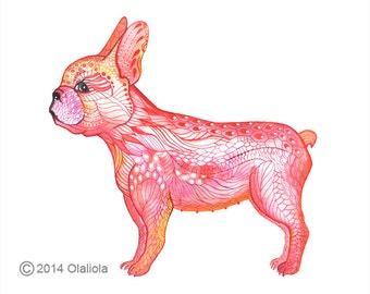 Golden French bulldog, animal art print, Golden Frenchie dog, size 10'x8'/A4