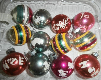 Vintage Christmas tree mercury glass ornaments lot of 12 stencils stripes bears NOEL candy cane train 1 1/2 inch small size