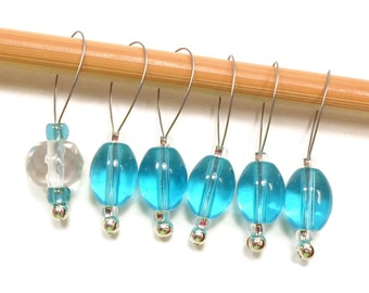 Knitting Stitch Markers Snag Free Markers Aqua Clear DIY Knitting Tools Gift for Knitter Craft Supplies Snagless Stitch Markers