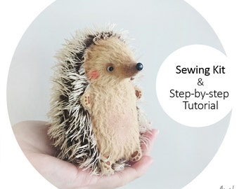 Sewing Kit Mini Hedgehog 11cm with Tutorial and Pattern - longer spikes