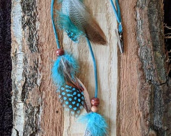 Tourquoise feather hair clip, feather clip, hair clip, hair jewelry, feathers, boho hair clip