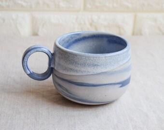White and blue marbled ceramic mug, contemporary mug,  Ceramic Cup, Ceramic Tumbler, Stoneware Mug, Coffee Mug, interior design (M57)