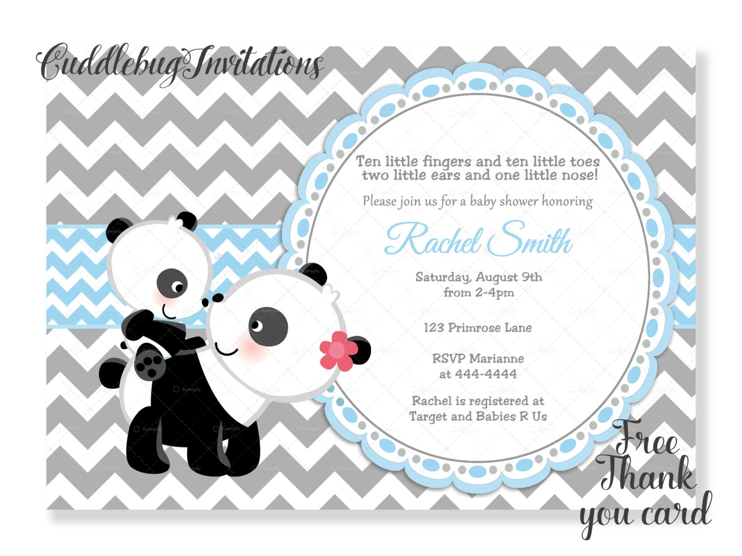 Blue Boy Panda Baby Shower Invitation Panda Bear Baby Boy