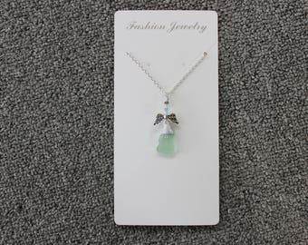 20'' Light Green Beach Glass Angel Necklace