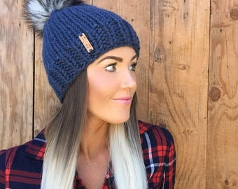 The  Denim Hat || Wool Blue Knit Cap w/ Husky Faux Fur Grey Pom Pom Hair Earwarmer Accessory Knit Fashion Chunky Bulky Accessories Men Girl