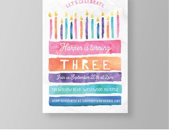 Girl Birthday Invitation Printable   Fun Birthday Cake Invite   Watercolor   100% Editable Template   Instant Download   Templett #040GBD