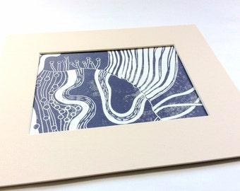 linocut - DREAM // 8x10 art print // printmaking // block print // purple // dreamscape // contemporary // 5x7 // original art // nature art