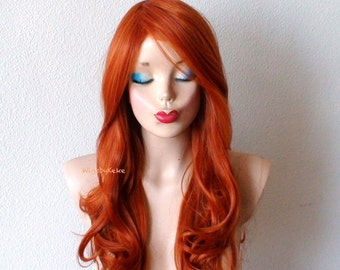 Ginger red wig. Lace front wig. Long wavy hairstyle wig. Durable heat friendly synthetic wig for everyday wear or Cospkay.