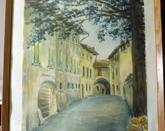 European Street Scene, Original Watercolor, Memories of the Old World, Under a Sheltering Tree, Old Stone Stairways,Morning Market, 1977