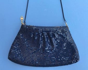 Gorgeous 1970's Vintage Elka Purse ~ Sparkling Metal Mesh, Navy Blue With Navy Blue Metal Strap ~ Excellent Quality And Condition