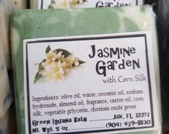 Jasmine Garden vegan handcrafted soap with corn silk