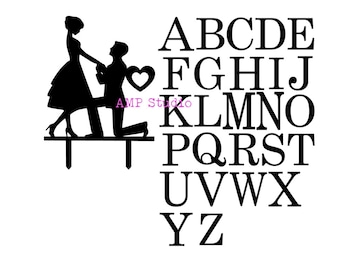 customizable engagement cake topper SVG cut file, dxf, silhouette, cricut, cameo, digital download entire alphabet included engagement party