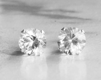 MothersDaySale Herkimer Diamond 5mm ,90ctw Sterling Silver Gemstone Studs