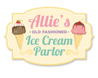 DIGITAL FILE Ice Cream Shop Sign, Ice Cream Parlor Decal 30x20inches, Ice Cream Signage, Ice Cream Birthday Decoration