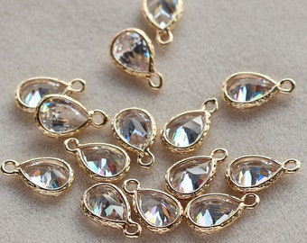35PCS,Quality Gold Plated Brass Faceted Cubic zirconia Bezel Charm Pendant Drop,8*11MM,Brass Frame Stone,Birthstone Charm Drop,Crystal