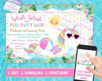 Unicorn Pool Party Invitation, Magical Birthday Invitation, Unicorn Editable Invitation, Edit With Your Phone id: UPBI_262